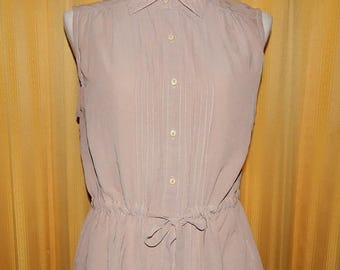 ON SALE Taupe Pleated Sheer Sleeveless Top Blouse Bust 40