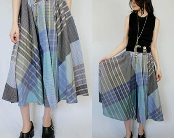 Periwinkle blues and purples plaid swing midi skirt with elastic waist 1990s 90s VINTAGE