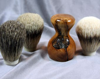 American Maple Burl Wood Shaving Brush w/ Clear Resin Choose Your Own Badger Hair Wedding Graduation Anniversary Graduation Customizable