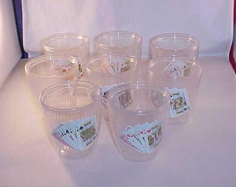 Insulated Plastic Playing Cards Drink Cups Set of 8