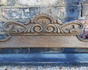 Antique wood ornamental pediment 32 inch Decorative furniture Mirror Frame embellishment Carved wood appliques architectural salvage