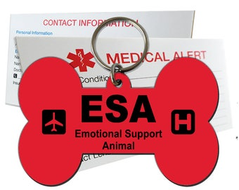 ESA Emotional Support Animal ID Tag Pre-Engraved Dog Bone Plastic SD9