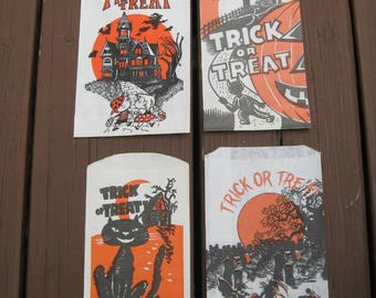 FREE SHIPPING* Instant Collection of 4 Vintage Trick Or Treat Bags, 1960s-70s