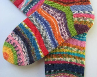 hand knitted womens wool socks, UK 5-7 US 7-9, crazy socks, rainbow socks, leftover yarn socks, mismatched socks, fun socks, multicolored