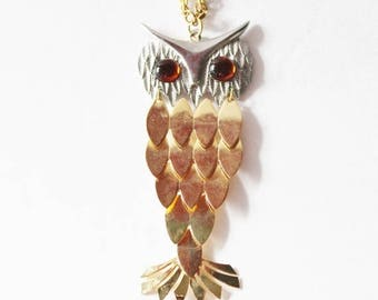 50% half off sale // Vintage 70s Gold and Silver Owl Necklace with Amber Eyes - Articulated Feathers