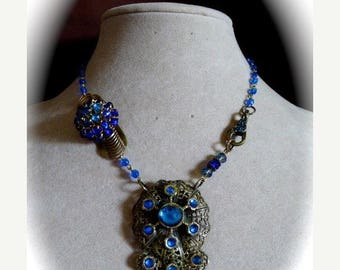HUGE SALE Assemblage Choker Necklace, Beautiful Blues, OOAK Repurposed Vintage Dress Clips in Antique Gold
