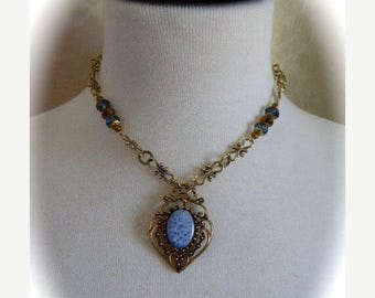 HUGE SALE Neo-Victorian OOAK Choker Style Pendant Necklace in Light Blue with Antique Gold Metals and Crystal Faceted Beads, Victorian Style