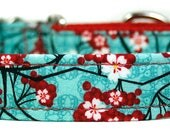 Red Cherry Blossoms on Blue Dog Collar