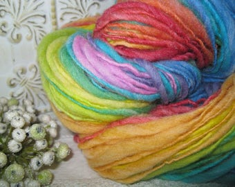 Handspun wool blend thick and thin singles Rainbow joy self striping glow in the dark yarn