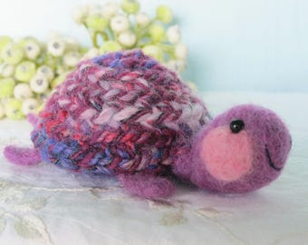 Turtle needle felted wool sculpture toy collectible purple and pink felt plushie tortoise