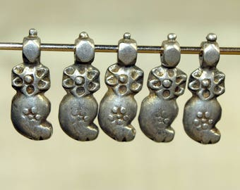 Set of Five Antique Silver Dangles from India; MET1021