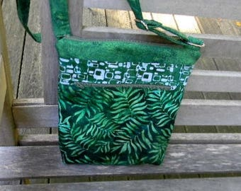 Green Batik Zipper Purse with six pockets