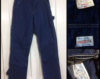 deadstock 1970s Carters Denim Carpenter Painters Pants size 29x31 Workwear Union Made in USA dark wash indigo blue jeans Talon zip NOS NWT