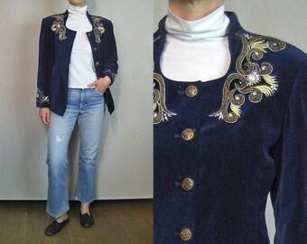 Embroidered + Beaded Velvet Jacket / 80s Midnight Blue Velvet Embroidered Jacket / Military Inspired Jacket