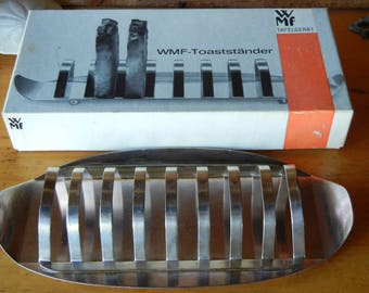 WMF Toaststander MCM vintage German toast server ball feet Original box Tafelgerat Serving rack Breakfast toast rack Chromium