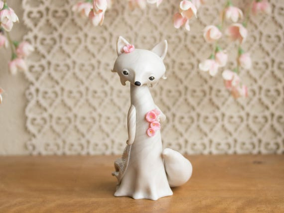 Sakura Gazing Fox - White Fox with Cherry Blossoms by Bonjour Poupette