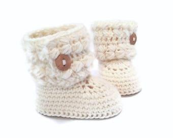 Girls Button Cuff Baby Boots in White Merino Wool