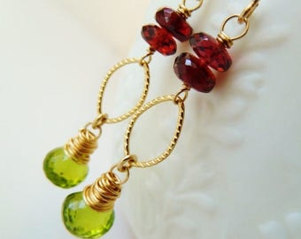 Clearance Garnet and Peridot gold earrings. Red Garnet earrings. Green Peridot earrings. Garden earrings. Mother's day gift. Red and Green.