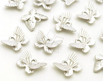 PD-2146-MS / 4 Pcs - Tiny Butterfly Charms, Small Butterfly Pendant, Matte Silver Plated over Pewter / 9mm x 7mm