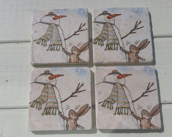Excuse me Mr Snowman Coaster Set of 4 Tea Coffee Beer Coasters