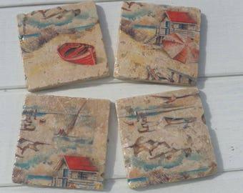 Coastal Boats Coaster Set of 4 Tea Coffee Beer Coasters
