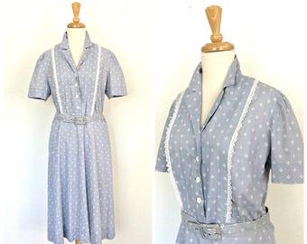 Vintage 60s dress - fit and flare - swing dress - cotton sundress - shirt waist - M L