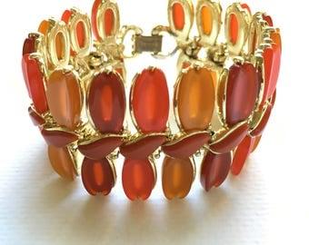 Lisner Lucite Bracelet, Vintage Jewelry, Orange Yellow Red, Vintage Bracelet, Lisner Bracelet, Lisner Jewelry, Wide Bracelet, Fall Colors