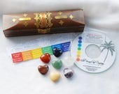 Chakra Stone Set | 7 Chakra Crystals | Chakra Set in Wooden Box | 7 Chakra Stones | 7 Chakras Meditation audio mp3 | Chakra Heart Stones