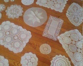 Vintage Lace Doilies Lot of 27. Antique Crochet Doilies