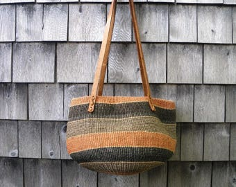 Vintage Hippie Chick Striped Brown & Orange Sisal and Leather Bag