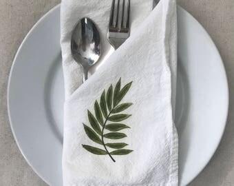 Palm Leaf Napkins, Flour Sack Cotton, Set of 2, Palm Tree Decor, Coastal Living, Beach House Gift, Tropical Living Decor, Beach House Gift