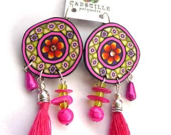 Boucles d'oreilles fleur gyspsy à pampilles....