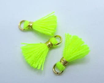 Mini Cotton Jewelry Tassels with Gold Binding and Gold Plated Jump Ring, Neon Yellow Tassels, 3 pcs Approx 10mm - MT8