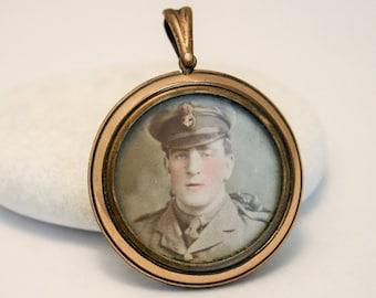 Vintage rolled gold glass locket. Sweetheart locket. World War 1