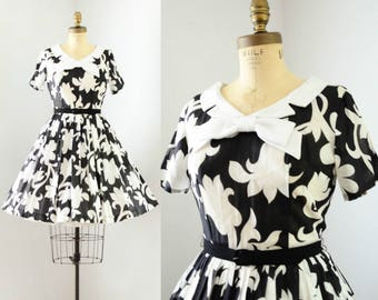 Vintage 1950's Black & White Floral Dress