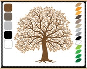 The Big Tree Creative Pack - Digital Clip Art - 5 Tree Trunks and 14 Separate Leaves