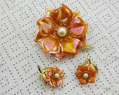 Orange Enamel with Pearls Floral  Brooch with clip earrings Mint condition Spring time