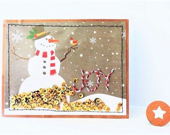 Custom Rustic Snowman Stitched Joy Shaker Card with Matching Envelope Seal - Family Christmas Card -  Interactive Blank/Printed Holiday Card