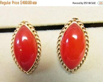 For Sale Vintage Estate Ming's of Honolulu Carnelian Stone Earrings Hard to Find