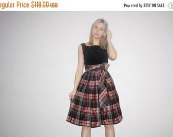 On SALE 45% Off - 1950s Vintage Black Velvet Plaid Skirt Pinup Bombshell Party Dress - Vintage 50s Cupcake Dress - W00463