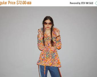 On SALE 45% Off - 1960s Graphic Rainbow Belted Women's Geometric Blouse  -  70s Rainbow top - Women's Rainbow Blouses  - WT0479
