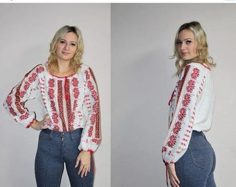 On SALE 45% Off - Ukrainian Ethnic Vintage 70s Embroidered Hippie Boho Ethnic Blouse - 1970s Tops - 70s Clothing - WV0080