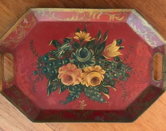 ANTIQUE RED TOLETRAY vintage painted tole ware tray - floral serving tray Wow