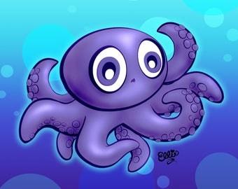 Baby Octopus Cartoon Art Print