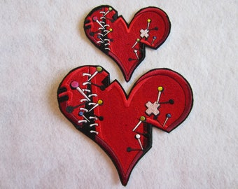 Embroidered Broken Heart Iron On Patch, Iron On Patch, Heart Patch, Broken Heart, Heart Applique