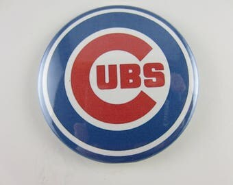 Chicago Cubs Baseball Pin Back Buttons, Pin Back Buttons, Chicago Cubs, Baseball pin, Chicgo Magnets, Chicago Mirrors