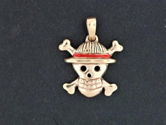 Straw Hat Jolly Roger pendant in antique bronze