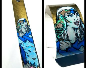 Sorceress - hand-painted cuff - Masters of the Universe He-Man comic book inspired cuff