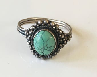 vintage turquoise ring - ROBINS EGG 925 silver navajo ring / size 10