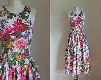vintage 1980s dress - SECRET GARDEN floral sundress / S/M